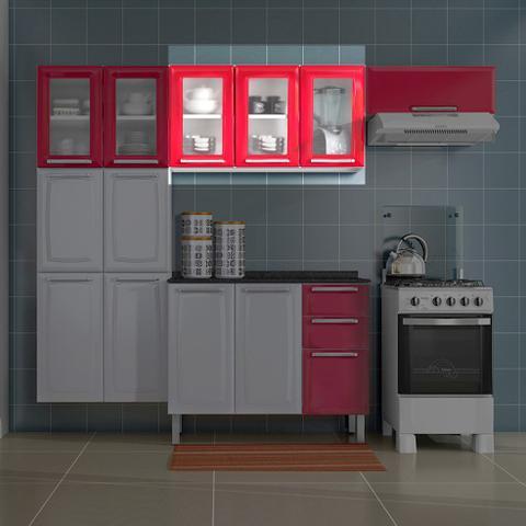 Imagem de Armario de Cozinha Aereo Itatiaia Luce 3 Portas 3 Vidros Vermelho IPV3-105