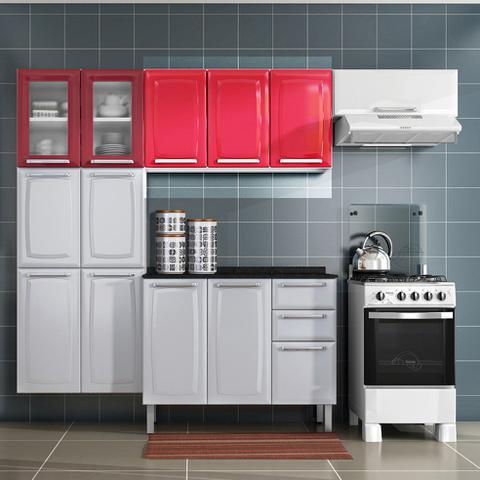 Imagem de Armario de Cozinha Aereo Itatiaia Luce 3 Portas Vermelho IP3-105