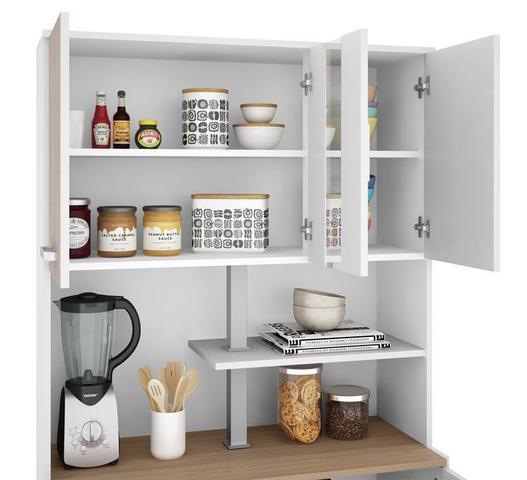 Imagem de Armário de Cozinha Atenas Plus 06 Portas Branco com Elmo e Montana - Madine