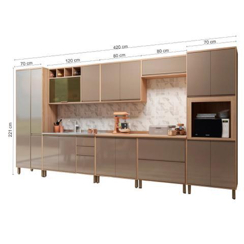 Imagem de Armário de Cozinha Completa Yara 8 peças com 16 Portas Grafite