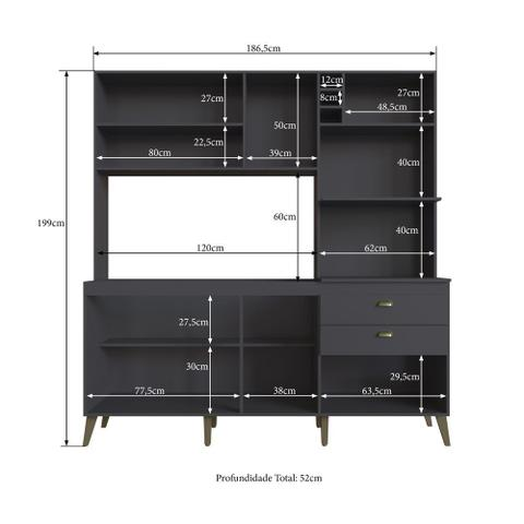 Imagem de Armário de Cozinha Completo 1,86m Espaço para 2 Fornos Donna 299 Casamia