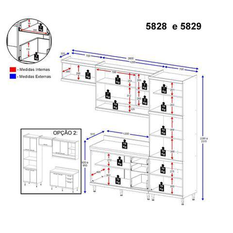 Imagem de Armário de Cozinha Completo 4 peças sem tampo 2,60m 5828 Linha Sicília Multimóveis
