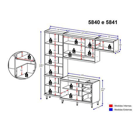Imagem de Armário de Cozinha Completo 4 peças sem tampo 2,60m 5840 Linha Sicília Multimóveis