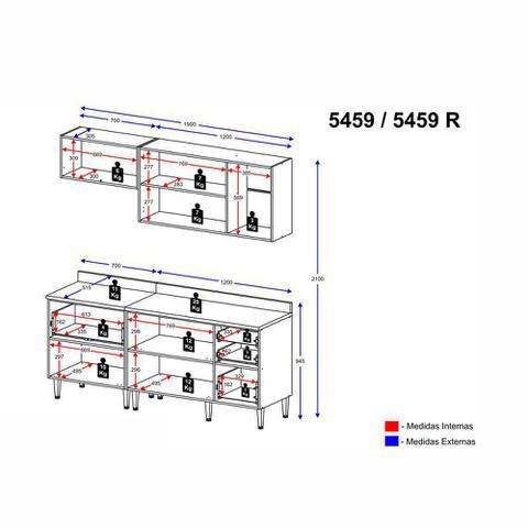 Imagem de Armário de Cozinha Completo 5pc 1,90m Calábria 5459 Multimóveis
