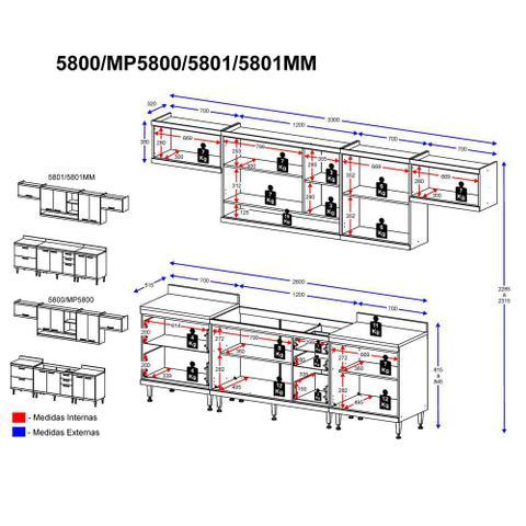 Imagem de Armário de Cozinha Completo 8 peças 3,30m 5801 Linha Sicília Multimóveis