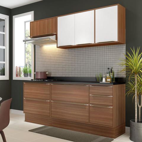 Imagem de Armário de Cozinha Completo com Rodapé 7pc 1,90m Calábria 5459R Multimóveis