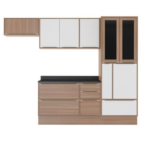 Imagem de Armário de Cozinha Completo com Rodapé 7pc 2,60m Calábria 5453R Multimóveis