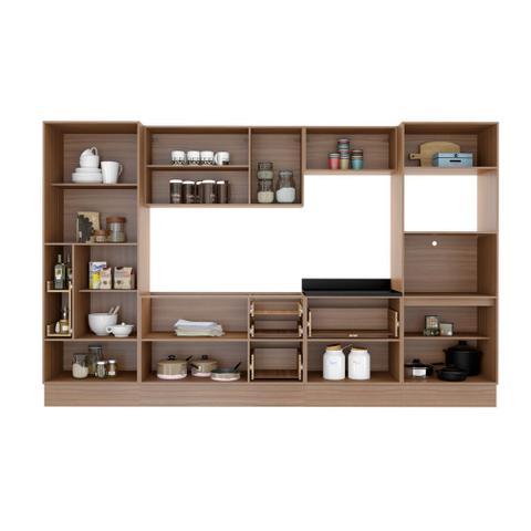 Imagem de Armário de Cozinha Completo com Rodapé sem Tampo 10pc 3,30m Calábria 5451R Multimóveis