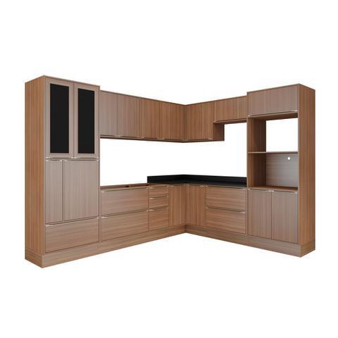 Imagem de Armário de Cozinha Completo com Rodapé sem Tampo 13pc Calábria 5461R Multimóveis
