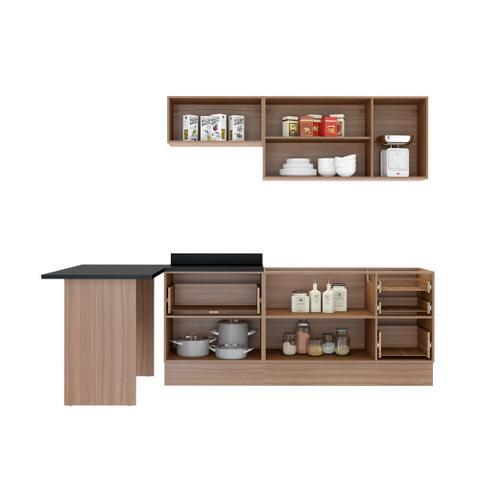 Imagem de Armário de Cozinha Completo com Rodapé sem Tampo 7pc 2,58m Calábria 5455R Multimóveis
