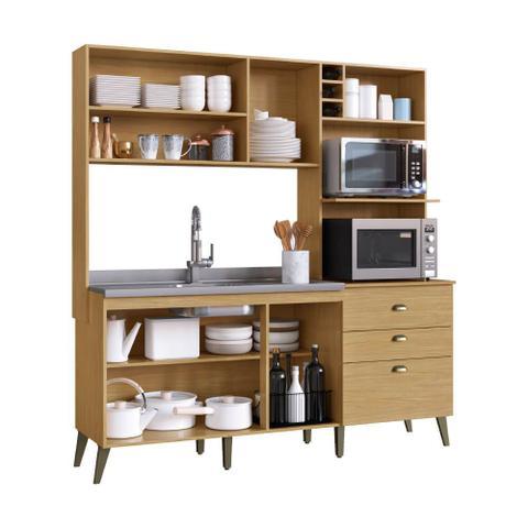 Imagem de Armário de Cozinha Completo Donna Casamia com 8 Portas 2 Gavetas Espaços Forno e Micro-ondas Louro Freijo/Off White