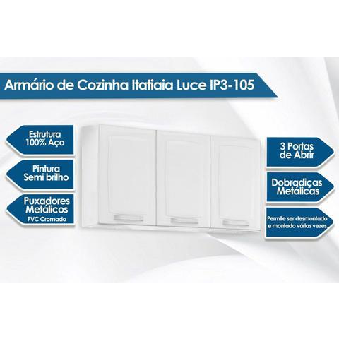 Imagem de Armário Itatiaia Luce IP3-105 Aço 105cm Branco/Preto