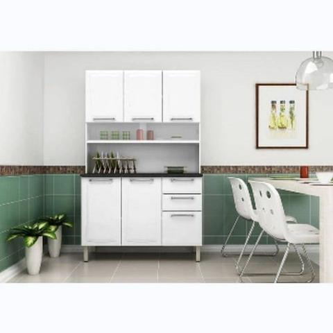Imagem de Armário Kit de Cozinha em aço Itatiaia Regina com 6 portas 2 gavetas 120cm Branco Cestaplus