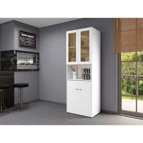 Imagem de Armário multifuncional/multiuso com 02 portas de vidro e mesa retrátil com organizador Multimóveis
