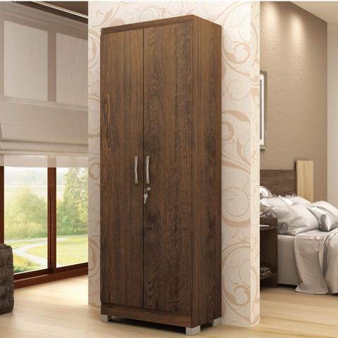 Imagem de Armário Multiuso com Chave 2 Portas 5 Prateleiras Doha 9595 Móveis Doripel Amarula