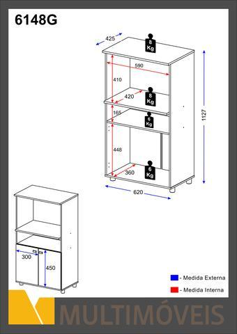Imagem de Armário Multiuso para Forno e Microondas Braco com Brilho - Multimóveis