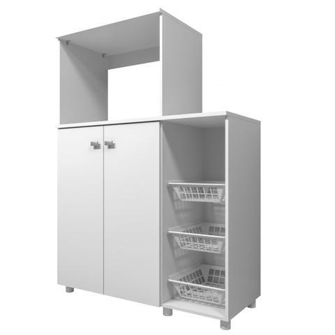Imagem de Armário Multiuso para Forno e Microondas com Fruteira Siena Móveis Branco