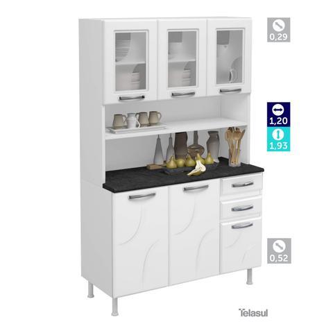 Imagem de Armário para Cozinha 6 Portas 2 Gavetas Safira Telasul Branco