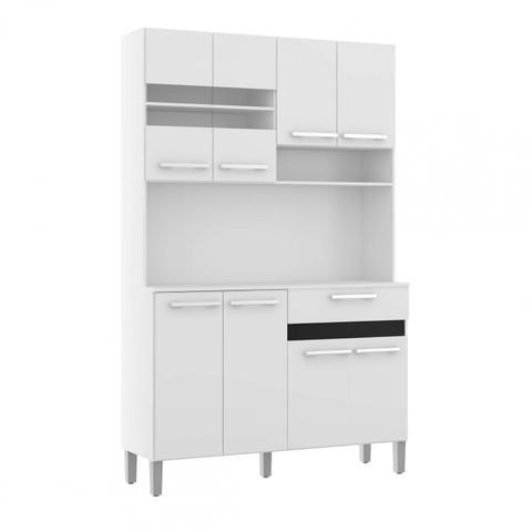 Imagem de Armário para Cozinha 8 Portas 1 Gaveta Compacta Decibal Branco/Preto