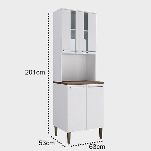 Imagem de Armário para Cozinha Kit Duplo com Espaço para Forno e Microondas Lilies Móveis