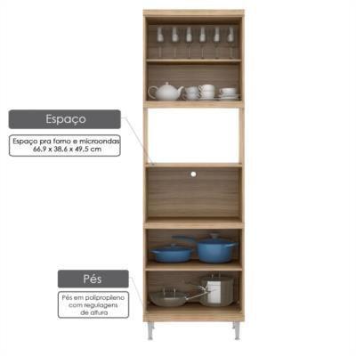 Imagem de Armário para forno e micro-ondas 4 portas sicília - acetinado texturizada argila/ branco