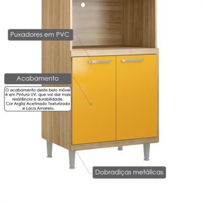 Imagem de Armário para forno e micro-ondas 4 portas sicília - argila acetinado texturizada e laca amarelo