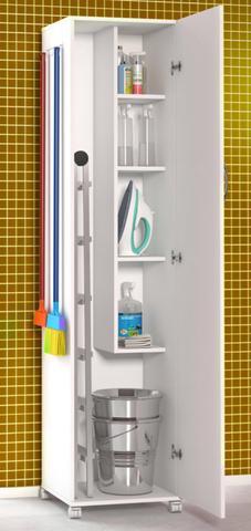 Imagem de Armário Para Lavanderia 1 Porta Alto Multiuso Branco Amplo