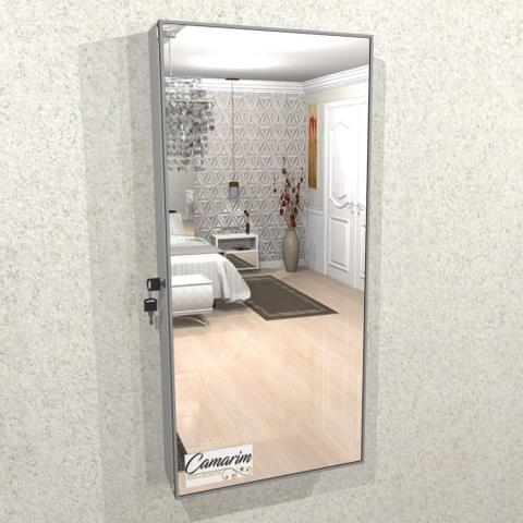 Imagem de Armário Porta Joia, (1,30 - BRANCO) Colar e  Brinco com Porta De Espelho em Moldura de Aluminio