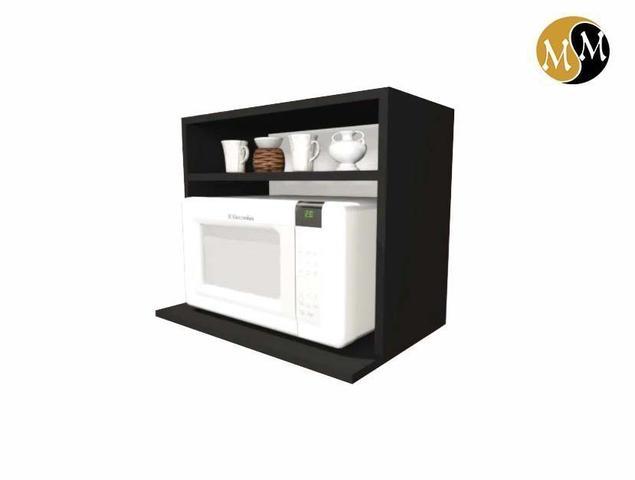 Imagem de Armário suporte microondas preto nicho cozinha decoração 100 % mdf móveis mariano