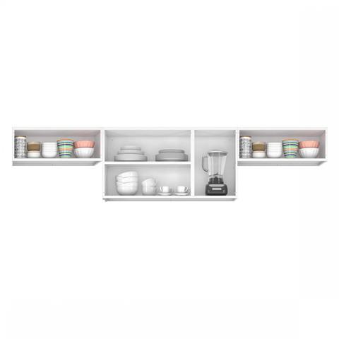 Imagem de Armários para Cozinha 3 Portas de Vidro 2 Portas Basculante Luce 2018 Itatiaia Preto/Branco