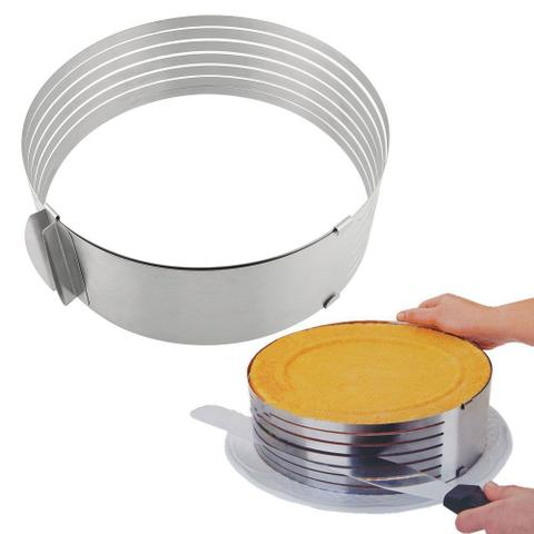 Imagem de Aro de metal cortador fatiador de inox com ajuste para bolo de 20cm