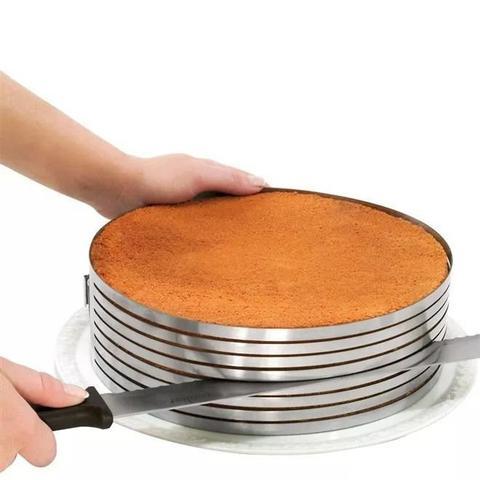 Imagem de Aro Inox Ajustável Fatiador de Camadas p/ Bolo 24-30 cm