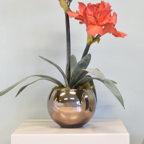 Imagem de Arranjo de Flor Artificial Amarílis Vermelho no Vaso Bronze  Formosinha