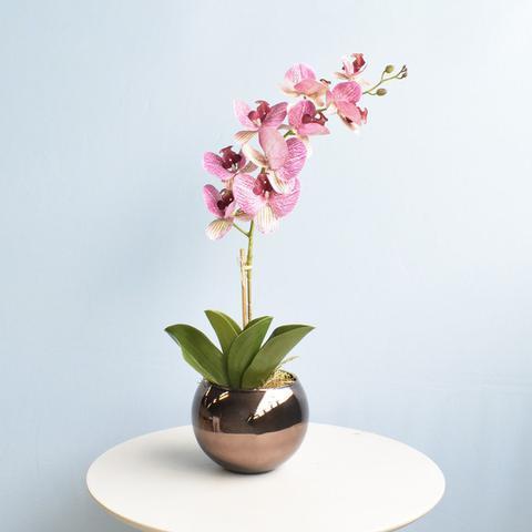 Imagem de Arranjo de Orquídea Artificial Rosa 3D no Vaso de Vidro Bronze Médio