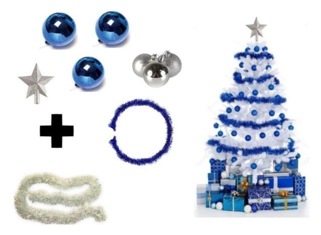 Imagem de Árvore De Natal Branca Decorada 1,80 Cm 320 Galhos Com 7 Itens