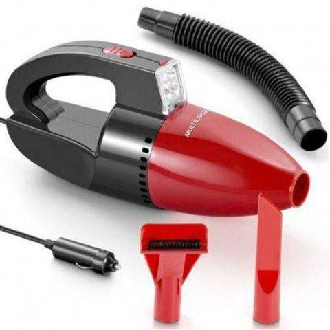 Imagem de Aspirador de Pó e Líquido Automotivo Portátil Multilaser 12V 60W com Luz de LED Preto e Vermelho