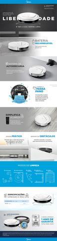 Imagem de Aspirador De Pó Robô Midea Branco Smart Bivolt Auto-Recarga Passa Pano