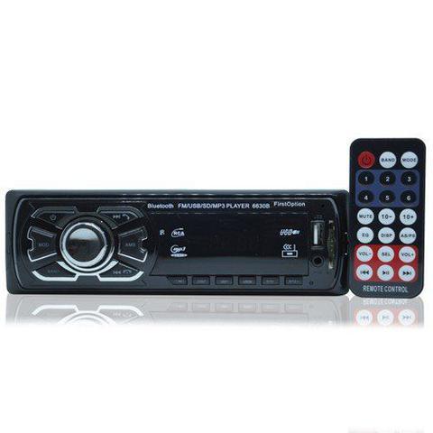 Imagem de Auto Rádio Som Mp3 Player Automotivo Carro Bluetooth First Option 6630BSC Fm Sd Usb Controle