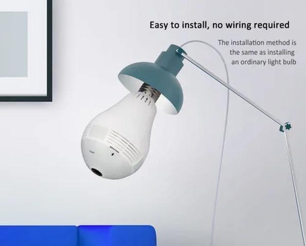 Imagem de Baba eletrônica Lâmpada Espiã Infravermelho Ip Wifi Hd Panoramica 360