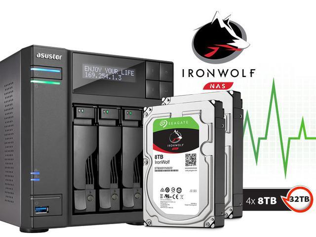 Imagem de Backup Nas Com Disco Ironwolf Asustor As6204t32000 Intel Quad Core J3160 1,6ghz 4gb Ddr3 Torre 32tb