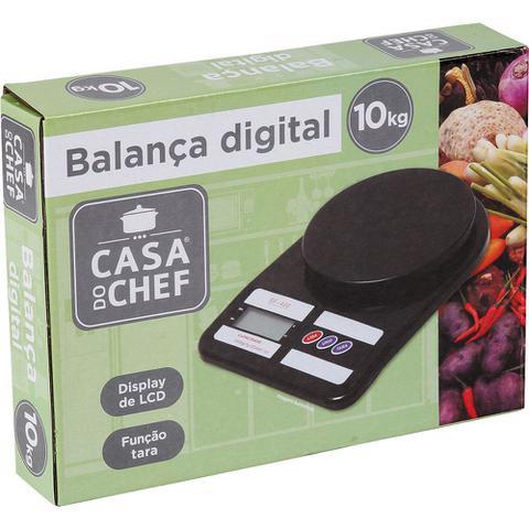 Imagem de Balança de Cozinha 10kg Digital Casa do Chef Preta