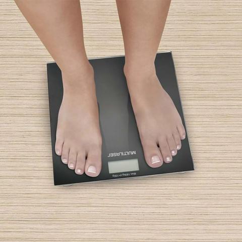 Imagem de Balança Digital Até 180kg Peso Corporal de Banheiro Academia Preto Multilaser