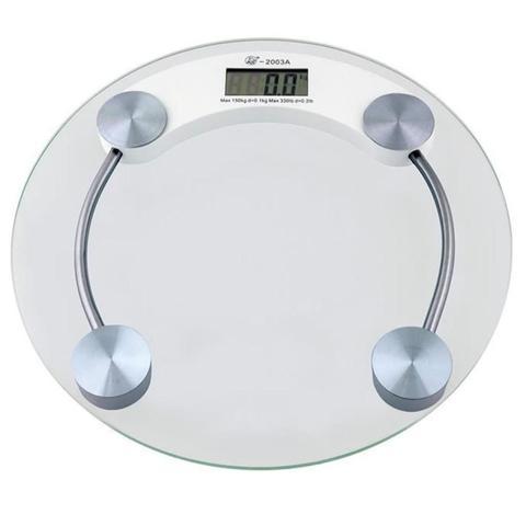 Imagem de Balanca Digital Redonda 180kg Eletronica LCD Em Vidro Temperado Banheiro Academia
