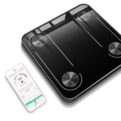 Imagem de Balança digital via Bluetooth com Bioimpedancia BANHEIRO APP 180KG - PRETO