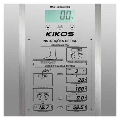 Imagem de Balança Ison De 2.5 Kg Á 150 Kg Vidro Temperado Kikos