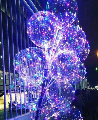 Imagem de Balão Bexiga De Led Bubble Transparente Colorido Com Vareta Festa Decoração