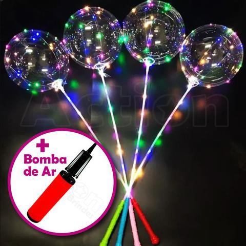 Imagem de Balão De Led Transparente C/ Vareta Kit 6 Un + Bomba De Ar