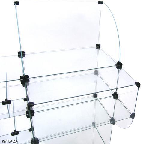 Imagem de Balcão Baleiro Caixa Modulado em Vidro com Rodízios - 1,50 x 1,10 x 0,30