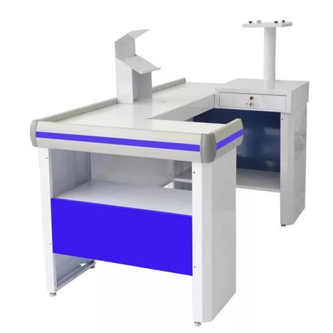 Imagem de Balcão Check-Out Venâncio 1,5m Azul com Kit CCK15