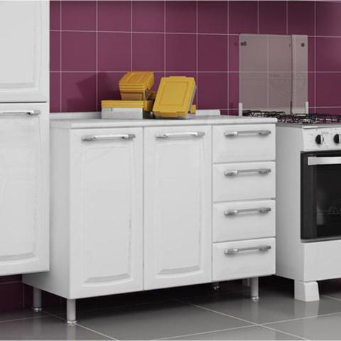 Imagem de Balcão Cozinha Itatiaia Criativa 2 Portas 4 Gavetas Branco IG3G4GD-105